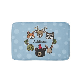 Cute and Friendly Forest Animals, Add Child's Name Bath Mats