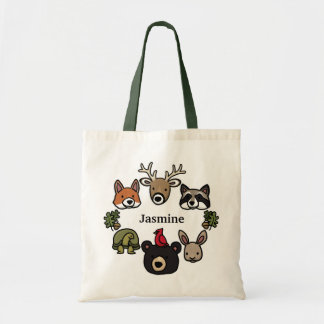 Cute and Friendly Forest Animals, Add Your Name Budget Tote Bag