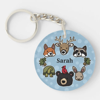 Cute and Friendly Forest Animals, Add Your Name Keychain
