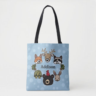 Cute and Friendly Forest Animals, Add Your Name Tote Bag