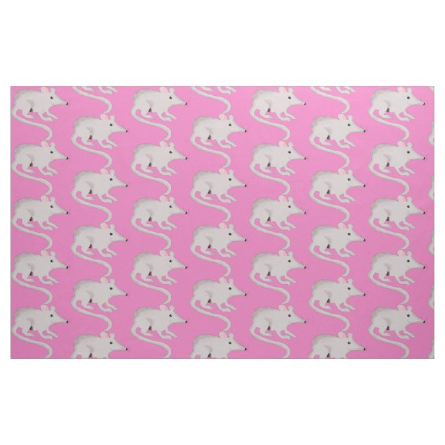 Cute and Friendly Rat Pink Fabric