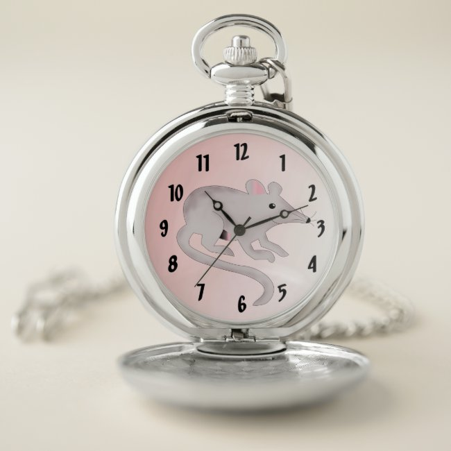 Cute and Friendly Rat Pink Pocket Watch