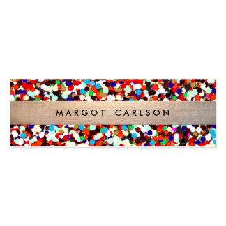 Cute and Fun Cool Colorful Confetti Gold Striped Mini Business Card