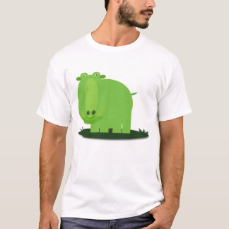 Cute and Fun Green Hippo T-Shirt
