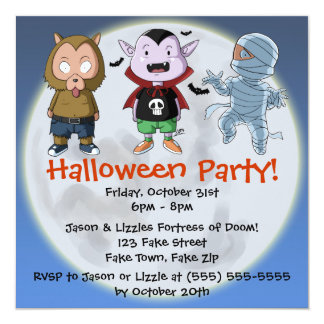 Cute and Fun Monsters Halloween Party Invitation
