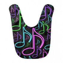 Cute and Fun Neon Music Note Collage Baby Bib