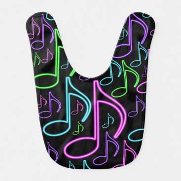 Toddler & Baby themed Cute and Fun Neon Music Note Collage Baby Bib