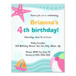 """Cute and fun pool or beach party invite for kids 4.25"""" x 5.5"""" invitation card"""