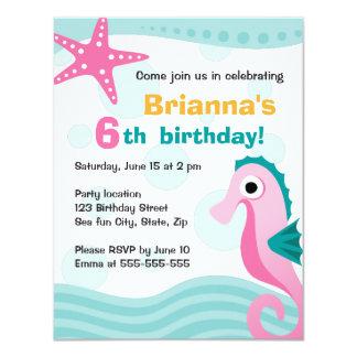 Cute and fun seahorse under the sea birthday 4.25x5.5 paper invitation card