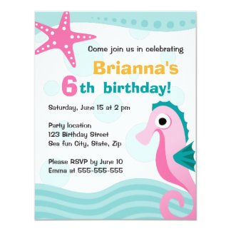 Cute and fun seahorse under the sea birthday card