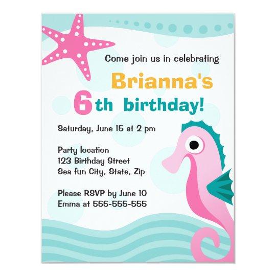 Cute and fun seahorse under the sea birthday card