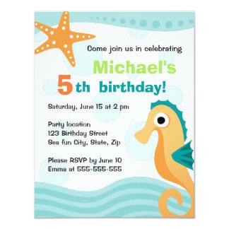 Cute and fun seahorse under the sea birthday personalized invitation