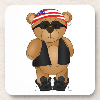 Cute and Fun Teddy Bear Biker Cartoon Mascot Beverage Coaster