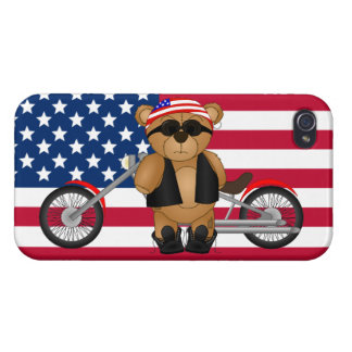 Cute and Fun Teddy Bear Biker Cartoon Mascot Covers For iPhone 4