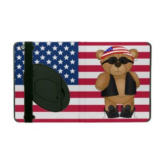 Cute and Fun Teddy Bear Biker Cartoon Mascot iPad Folio Case