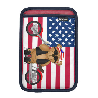 Cute and Fun Teddy Bear Biker Cartoon Mascot iPad Mini Sleeve