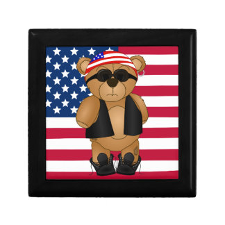 Cute and Fun Teddy Bear Biker Cartoon Mascot Keepsake Box