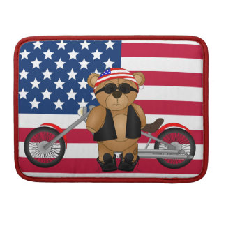 Cute and Fun Teddy Bear Biker Cartoon Mascot MacBook Pro Sleeve