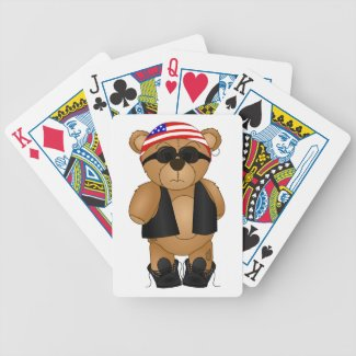 Cute and Fun Teddy Bear Biker Cartoon Mascot Card Decks