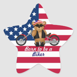 Cute and Fun Teddy Bear Biker Cartoon Mascot Star Sticker