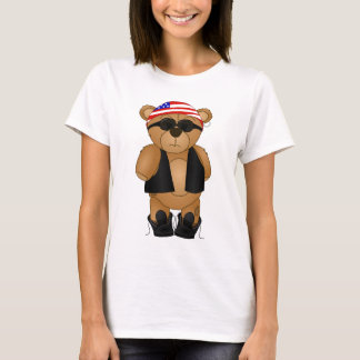 Cute and Fun Teddy Bear Biker Cartoon Mascot T-Shirt