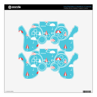 Cute and fun umbrella pattern decal for PS3 controller