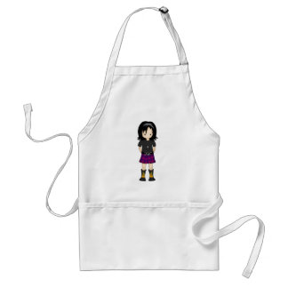 Cute and Funky Little Emo or Goth Girl Cartoon Apron