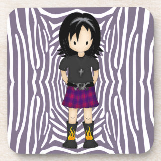 Cute and Funky Little Emo or Goth Girl Cartoon Beverage Coaster