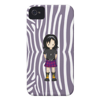 Cute and Funky Little Emo or Goth Girl Cartoon iPhone 4 Case-Mate Case