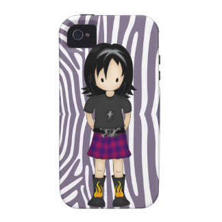 Cute and Funky Little Emo or Goth Girl Cartoon Vibe iPhone 4 Case