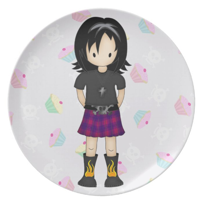 Cute and Funky Little Emo or Goth Girl Cartoon Dinner Plate