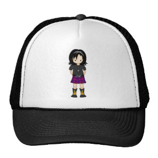 Cute and Funky Little Emo or Goth Girl Cartoon Mesh Hat