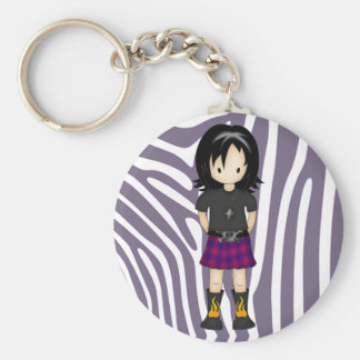 Cute and Funky Little Emo or Goth Girl Cartoon Keychain