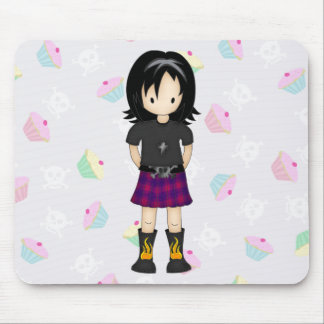 Cute and Funky Little Emo or Goth Girl Cartoon Mouse Pads