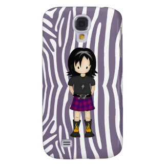 Cute and Funky Little Emo or Goth Girl Cartoon Samsung Galaxy S4 Cover
