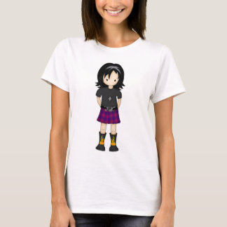 Cute and Funky Little Emo or Goth Girl Cartoon T-Shirt