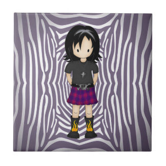 Cute and Funky Little Emo or Goth Girl Cartoon Small Square Tile