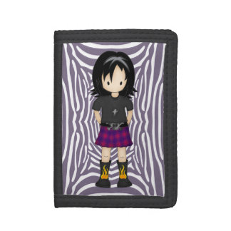Cute and Funky Little Emo or Goth Girl Cartoon Trifold Wallets