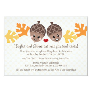 """Cute and Funny Acorn Couples Wedding Shower 5"""" X 7"""" Invitation Card"""