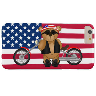 Cute and Funny American Teddy Bear Biker Cartoon Barely There iPhone 6 Plus Case