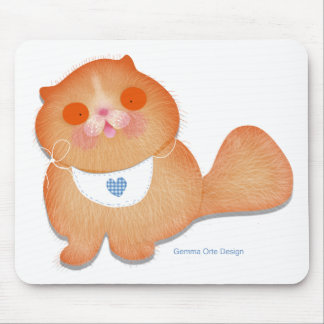 Cute and funny baby kitten with bib mouse pad