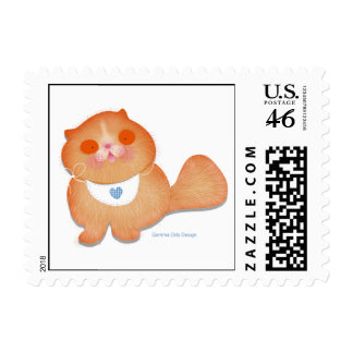 Cute and funny baby kitten with bib postage stamps
