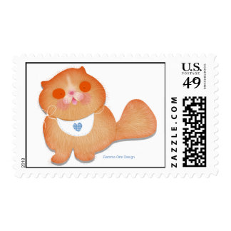 Cute and funny baby kitten with bib stamp