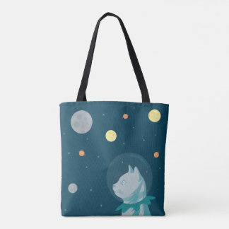 Cute and funny cat and space illustration tote bag