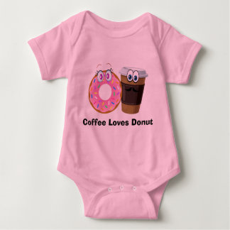 Cute and funny coffee loves donut baby Bodysuit Baby Bodysuit
