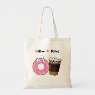 Cute and funny coffee loves donut tote bag