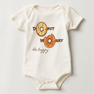 """Cute and funny """"Donut worry be happy"""" Baby Bodysuit"""