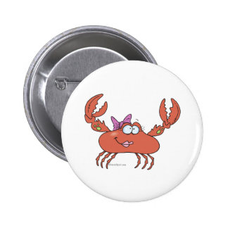 cute and funny girly girl crab character pin