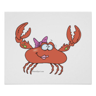 cute and funny girly girl crab character poster