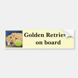 Cute and funny Golden Retriever Car Bumper Sticker